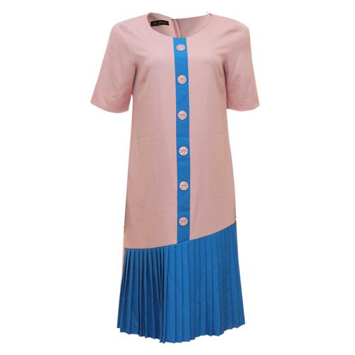 NUDE/BLUE PLEATED HEM DRESS
