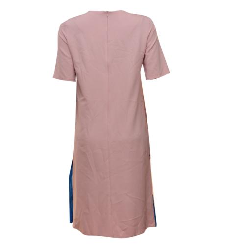 NUDE /BLUE PLEATED HEM DRESS