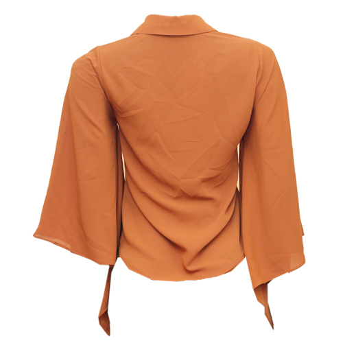 brown flare sleeve blouse
