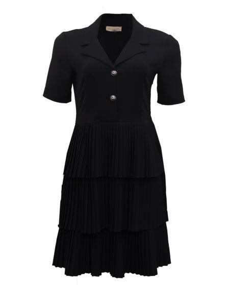 black layered pleats dress