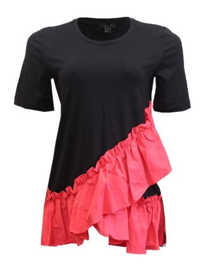black top with coral frills details