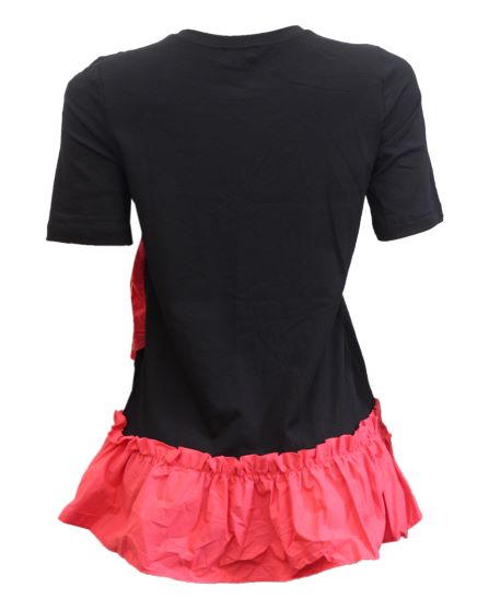 black top with coral frills details1