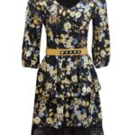 floral dress with yellow belt
