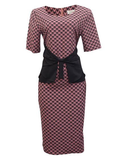 pink dogtooth dress with front bow