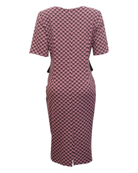 pink dogtooth dress with front bow1
