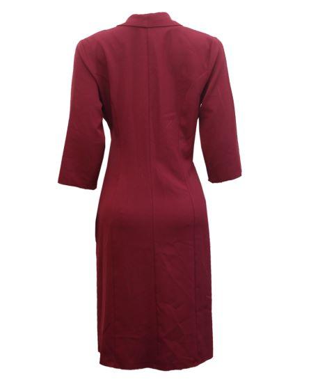 wine side pleats dress