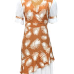 brown and white side pleat dress