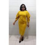 mustard yellow open sleeves work dress3